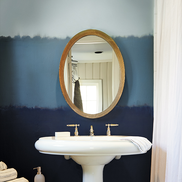 blue tone bathroom